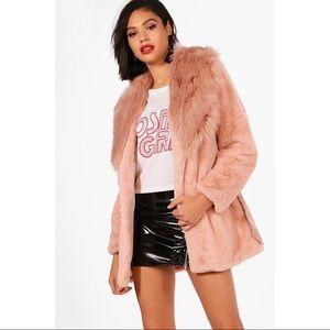 BOOHOO NEW Boutique Faux Fur Beige Coat UK12/US8